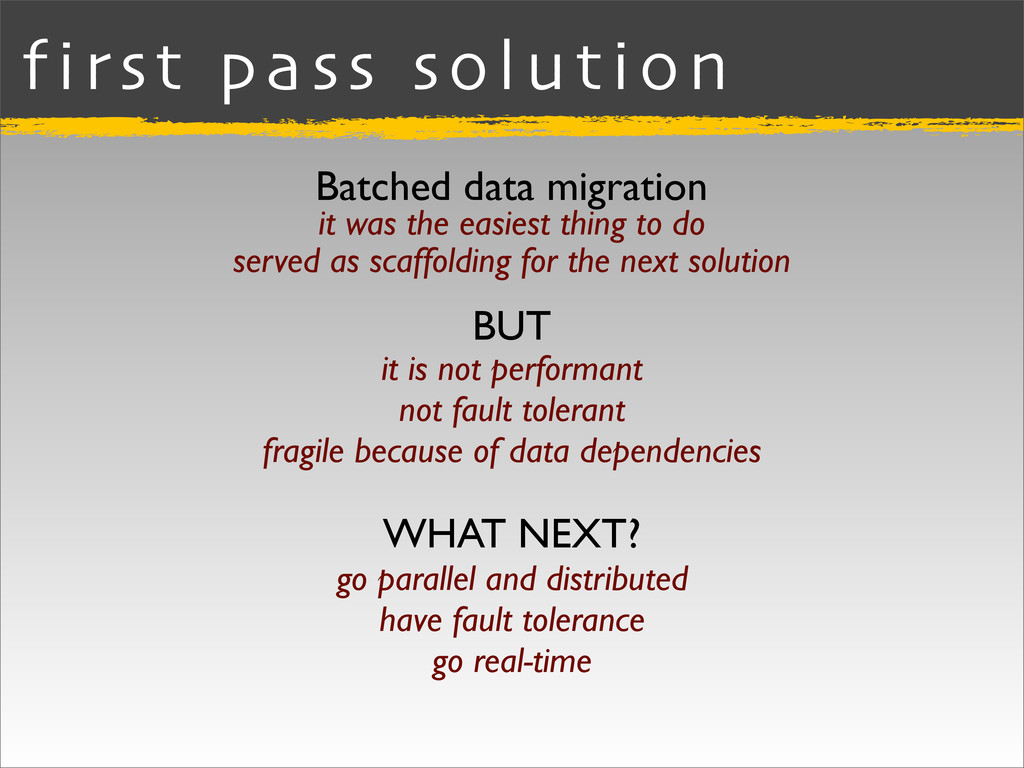 first pass solution Batched data migration BUT ...
