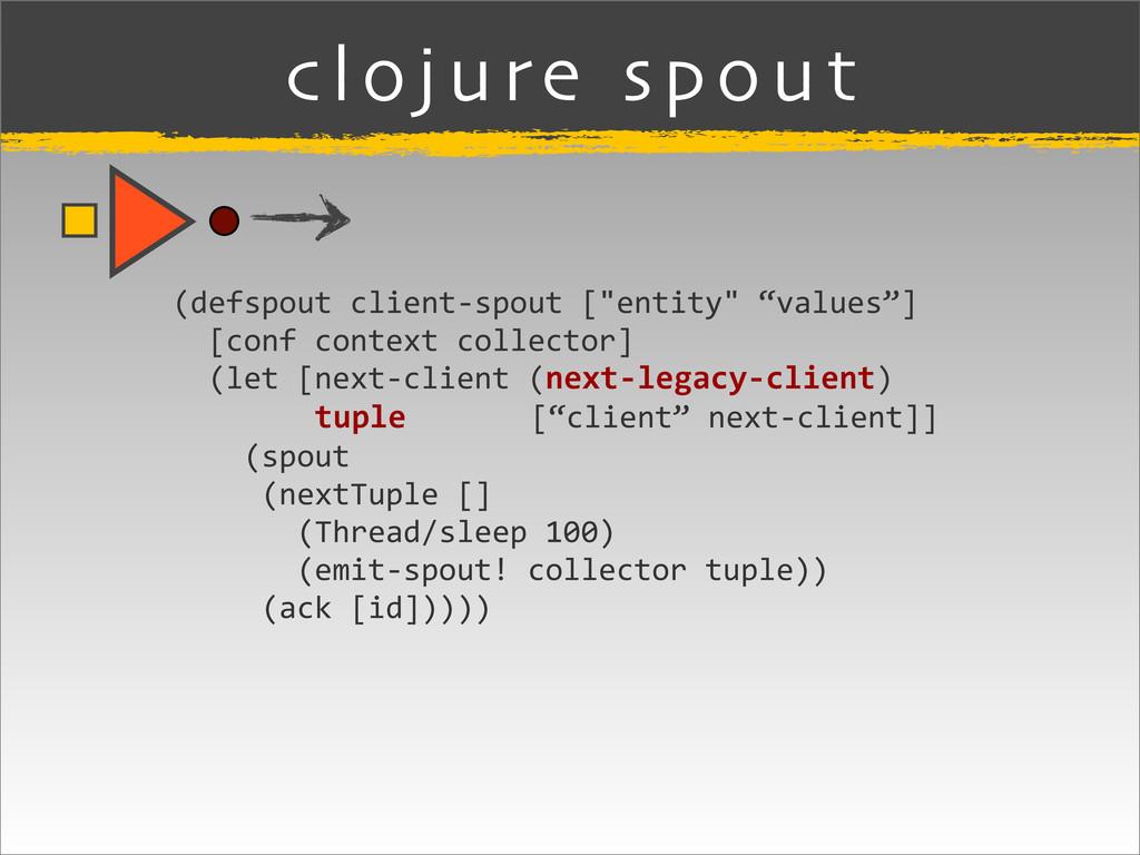 """clojure spout (defspout client-‐spout [""""..."""