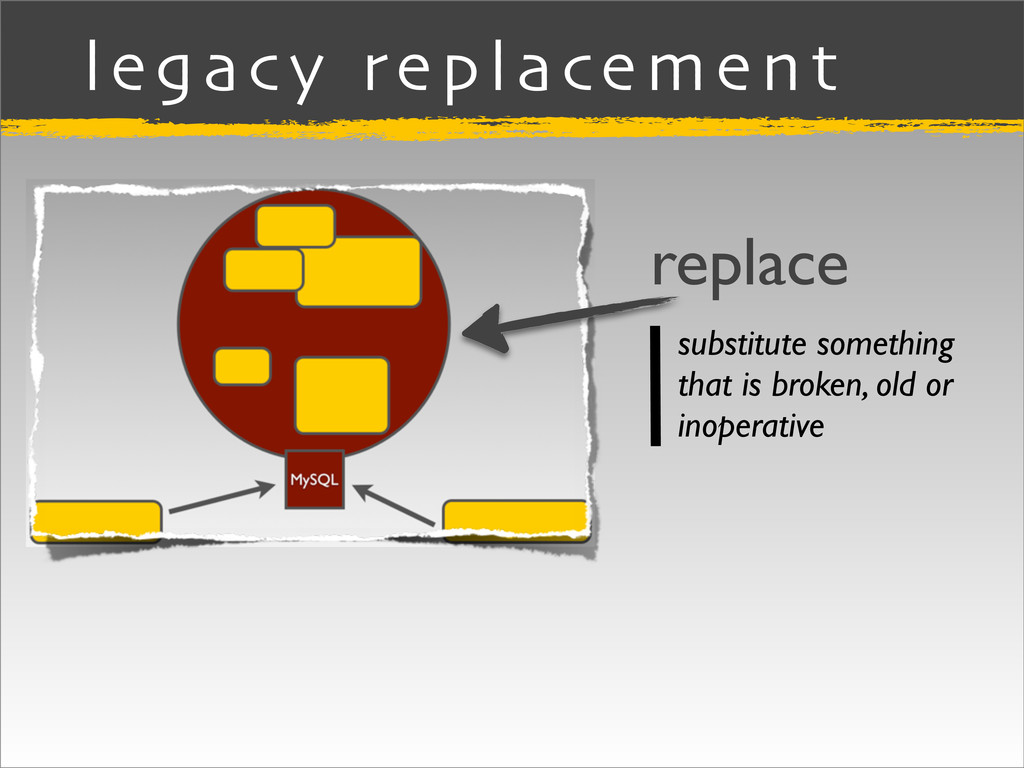 legacy replacement replace substitute something...