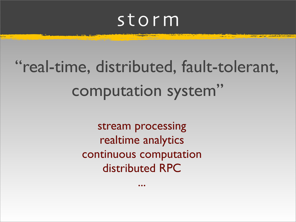 """storm """"real-time, distributed, fault-tolerant, ..."""
