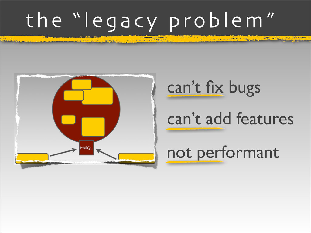 """the """"legacy problem"""" can't fix bugs can't add fe..."""