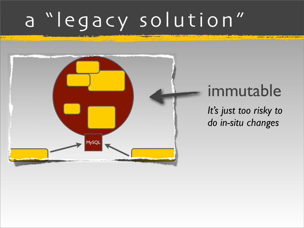 """a """"legacy solution"""" immutable It's just too ris..."""