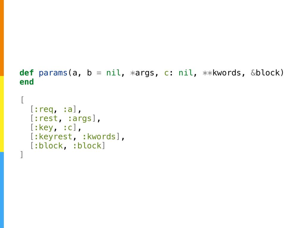 def params(a, b = nil, *args, c: nil, **kwords,...