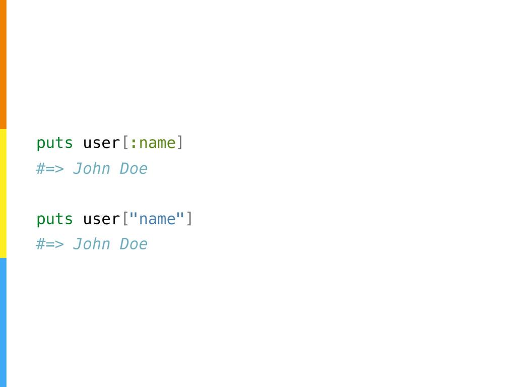 """puts user[:name] #=> John Doe puts user[""""name""""]..."""