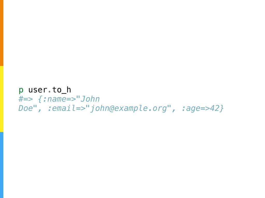 "p user.to_h #=> {:name=>""John Doe"", :email=>""jo..."