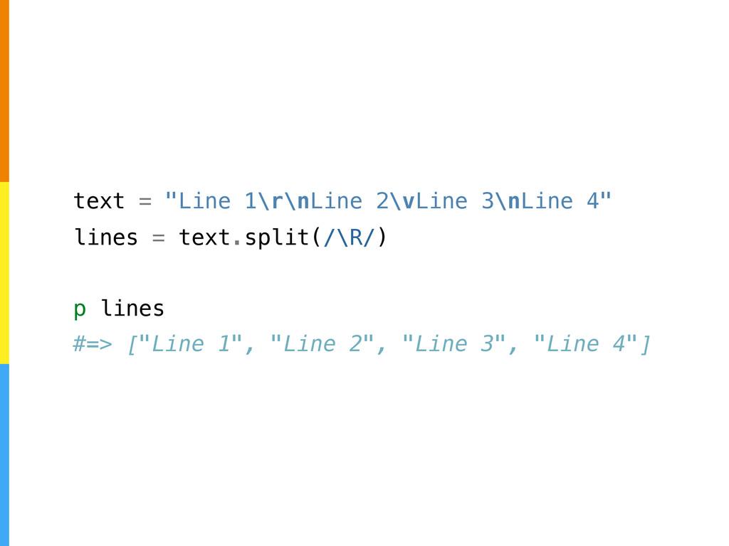 "text = ""Line 1\r\nLine 2\vLine 3\nLine 4"" lines..."