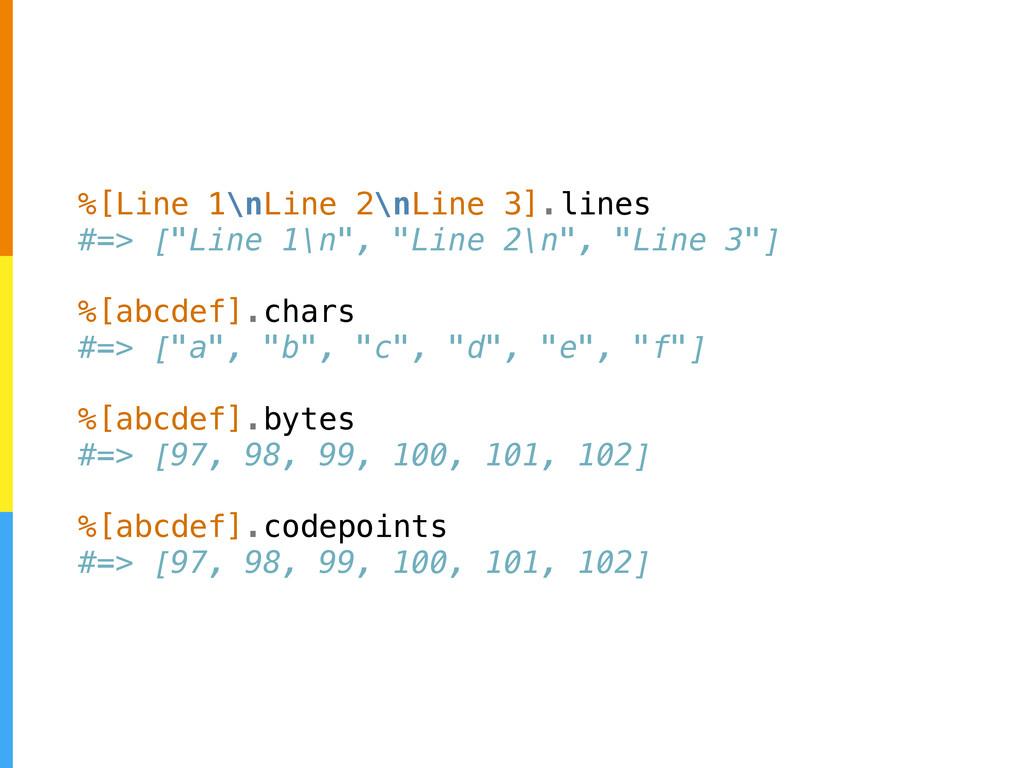 "%[Line 1\nLine 2\nLine 3].lines #=> [""Line 1\n""..."