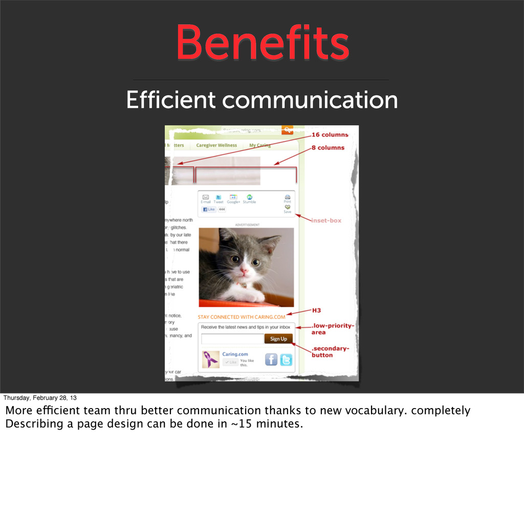 Benefits Efficient communication Thursday, Febr...