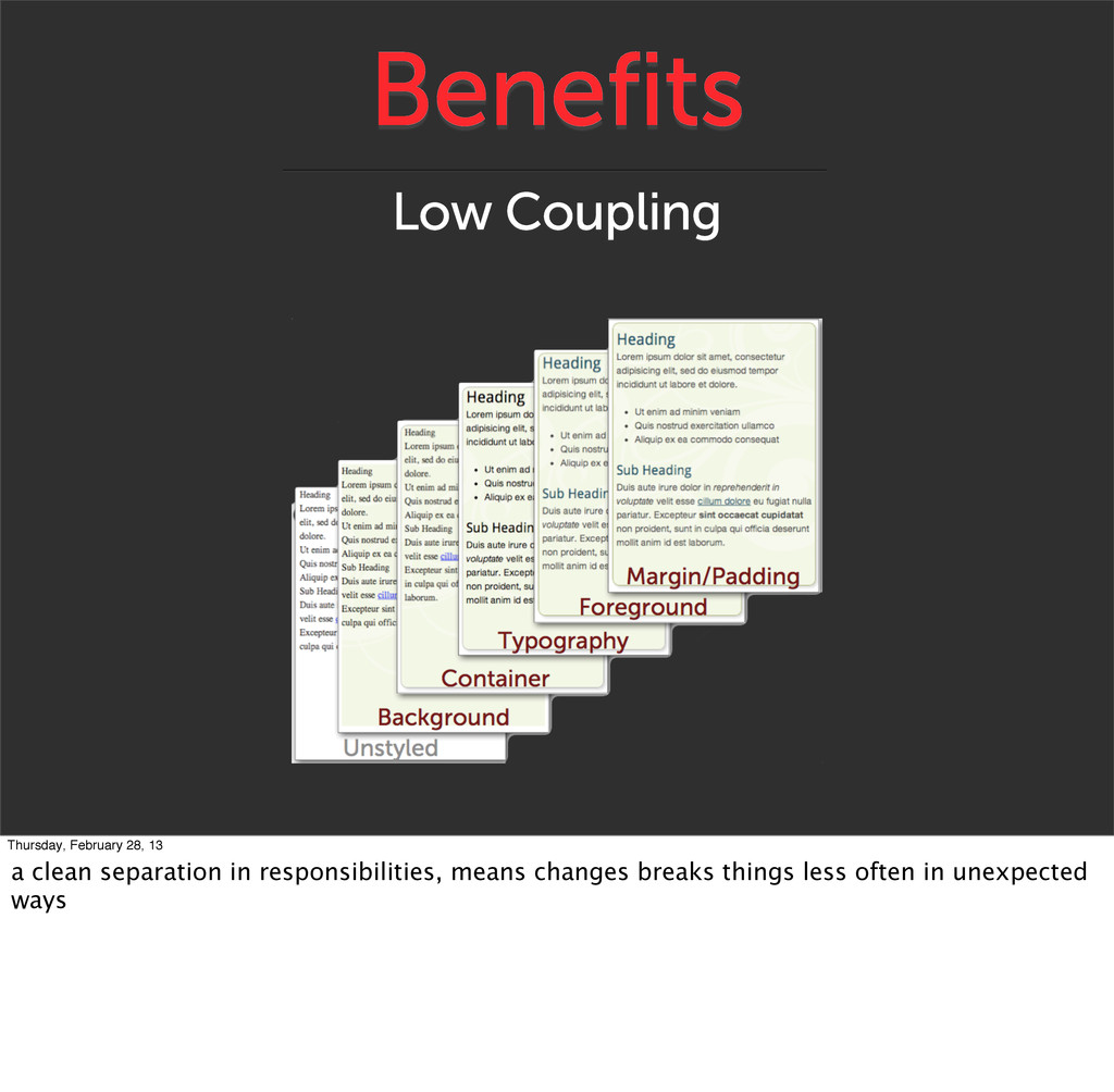 Benefits Low Coupling Thursday, February 28, 13...