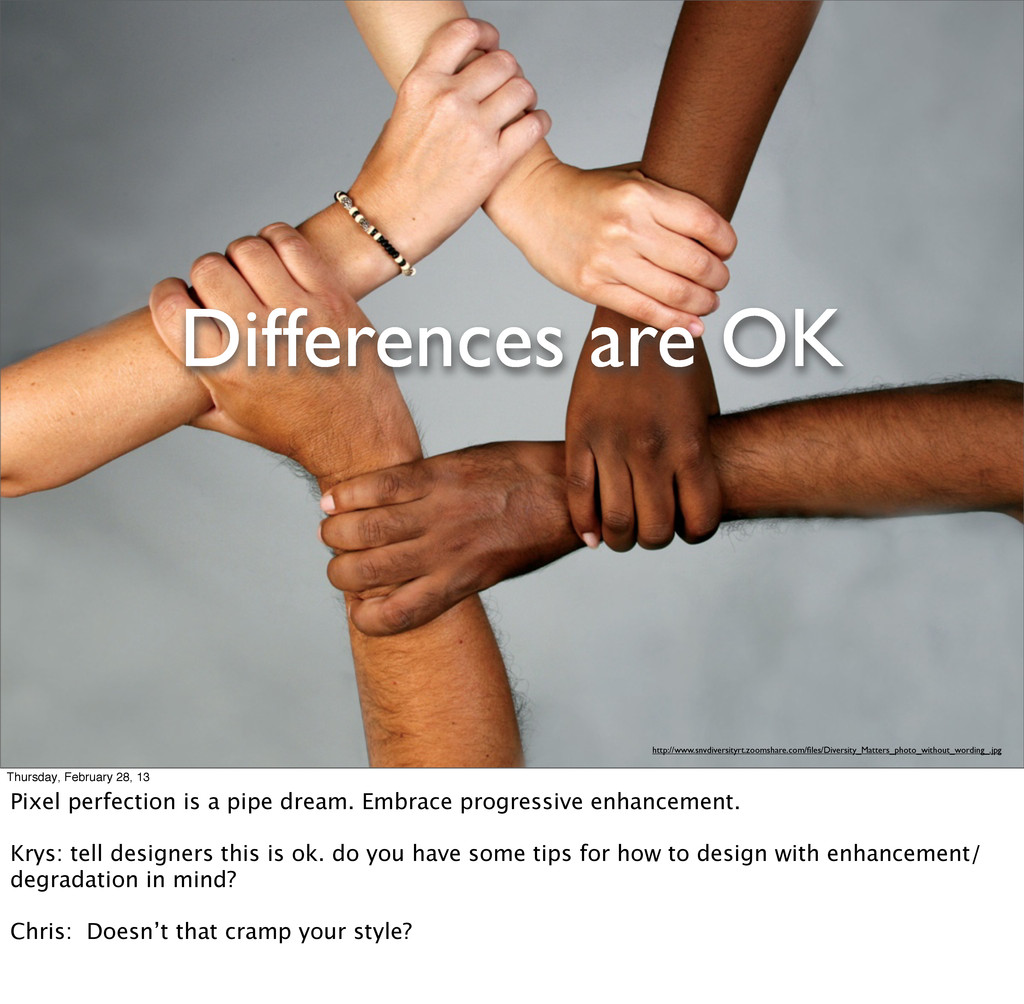 Differences are OK http://www.snvdiversityrt.zo...