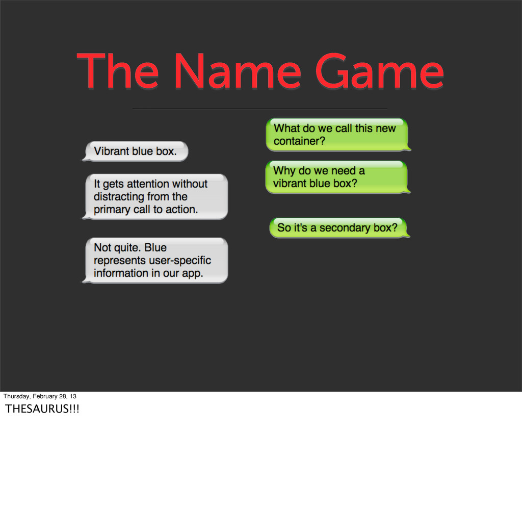 The Name Game Thursday, February 28, 13 THESAUR...