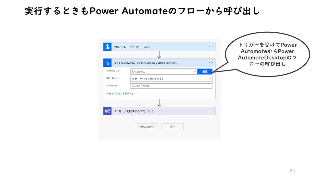 25 実行するときもPower Automateのフローから呼び出し トリガーを受けてPowe...