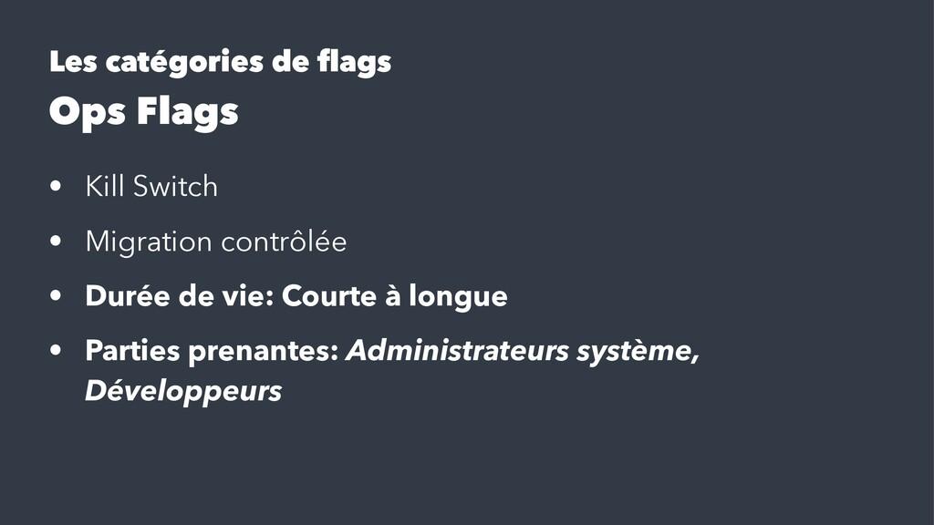 Les catégories de flags Ops Flags • Kill Switch ...