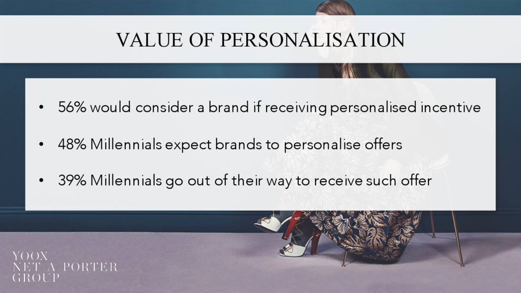 VALUE OF PERSONALISATION • 56% would consider a...