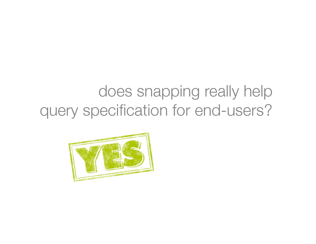 "does snapping really help "" query specification ..."
