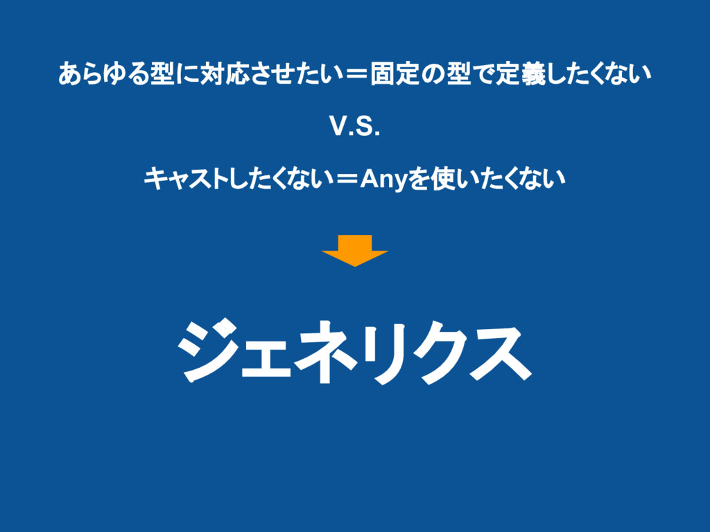 あらゆる型に対応させたい=固定の型で定義したくない V.S. キャストしたくない=Anyを使い...