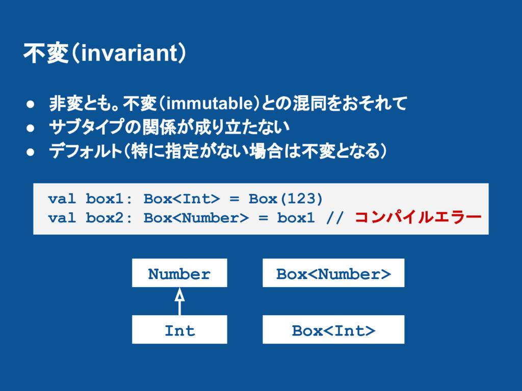 不変(invariant) ● 非変とも。不変(immutable)との混同をおそれて ● サ...