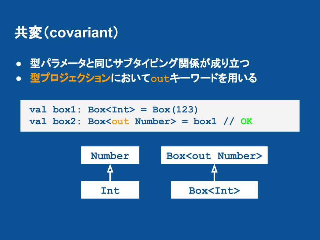 共変(covariant) ● 型パラメータと同じサブタイピング関係が成り立つ ● 型プロジェ...