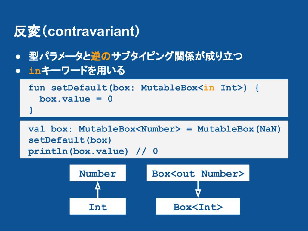 反変(contravariant) ● 型パラメータと逆のサブタイピング関係が成り立つ ● i...