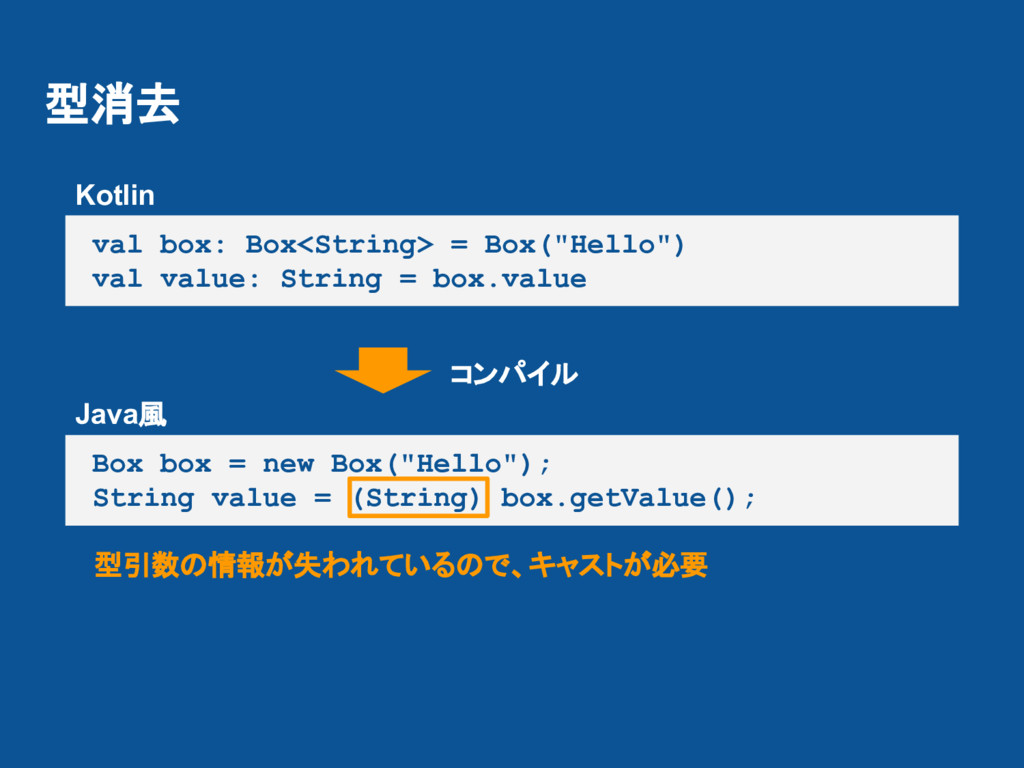 "型消去 val box: Box<String> = Box(""Hello"") val val..."