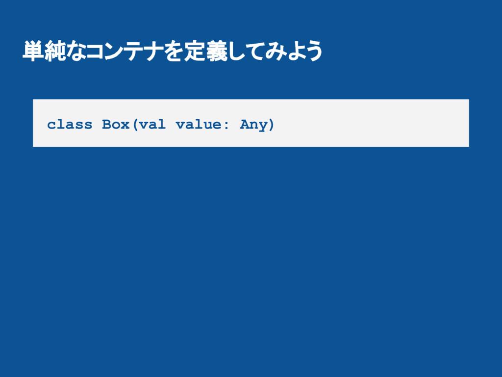 単純なコンテナを定義してみよう class Box(val value: Any)