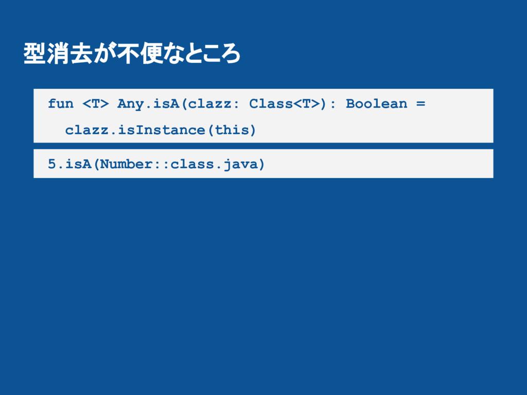 型消去が不便なところ fun <T> Any.isA(clazz: Class<T>): Bo...
