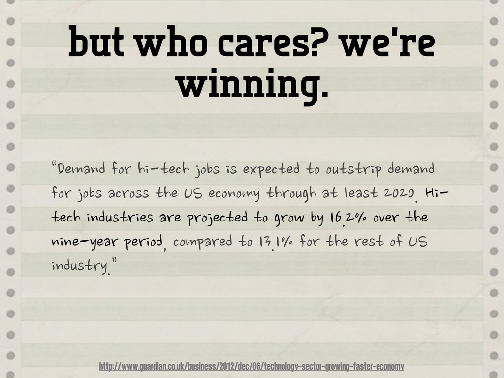 """but who cares? we're winning. """"Demand"""