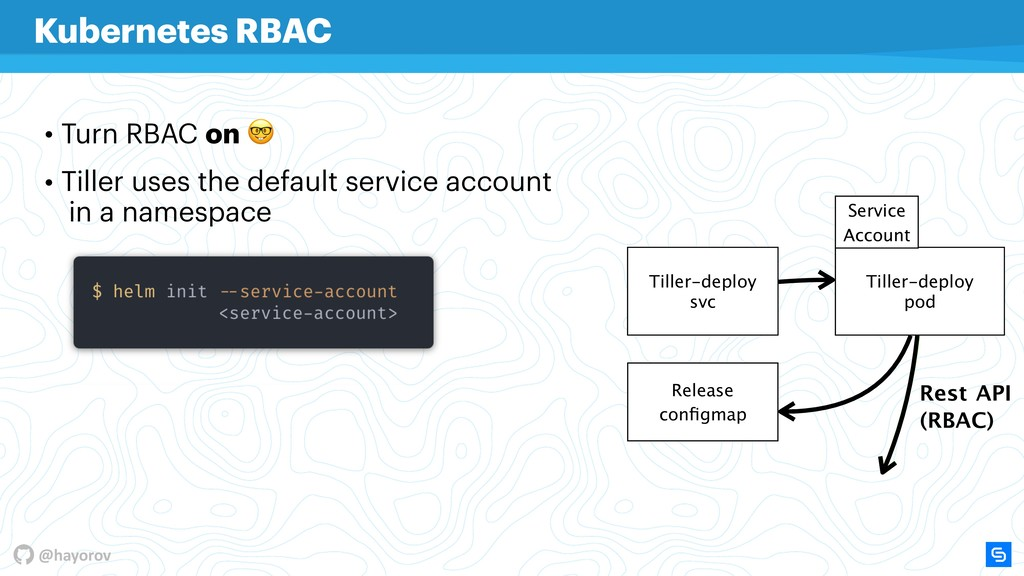 @hayorov • Turn RBAC on  • Tiller uses the defa...