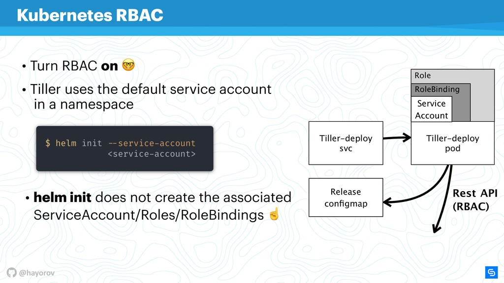 @hayorov Role RoleBinding • Turn RBAC on  • Til...