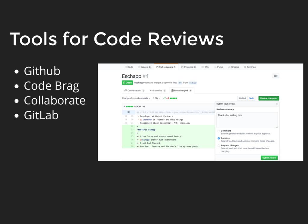 Tools for Code Reviews Github Code Brag Collabo...