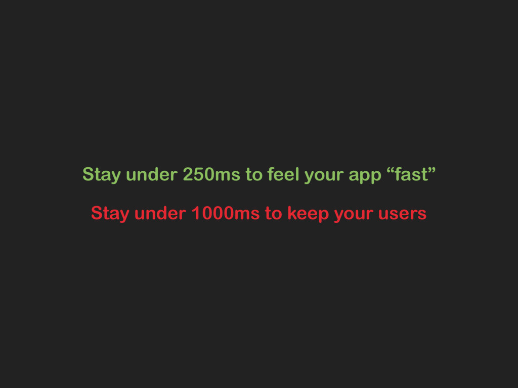 """Stay under 250ms to feel your app """"fast"""" Stay u..."""