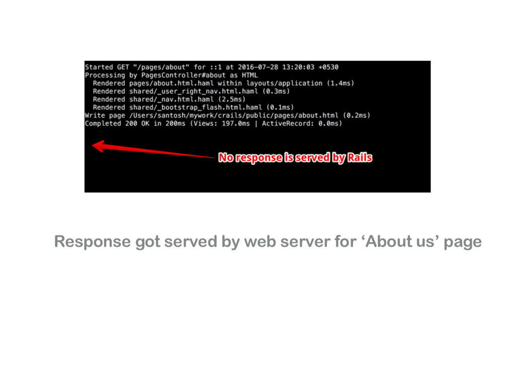 Response got served by web server for 'About us...