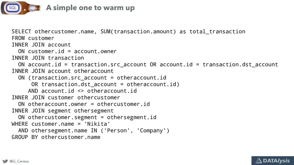 SELECT othercustomer.name, SUM(transaction.amou...