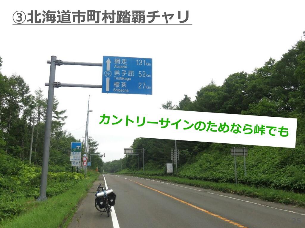 25 ③北海道市町村踏覇チャリ 25 カントリーサインのためなら峠でも