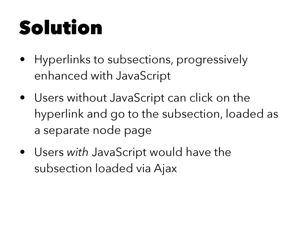 Solution • Hyperlinks to subsections, progressi...