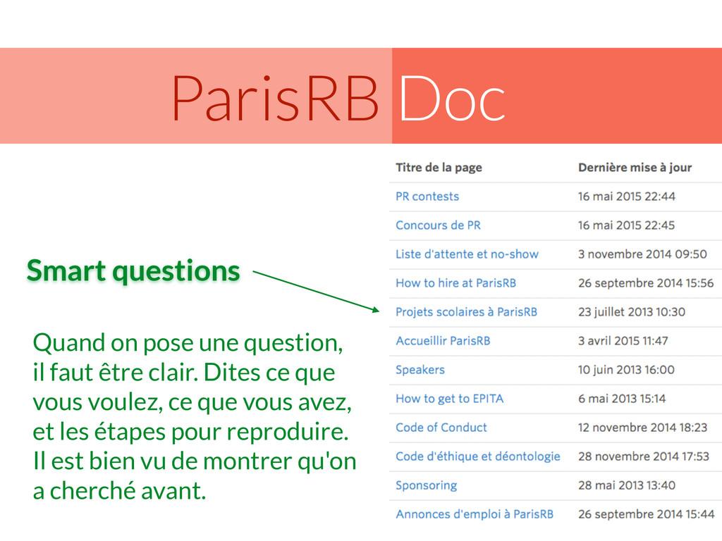 Doc ParisRB Quand on pose une question, il faut...