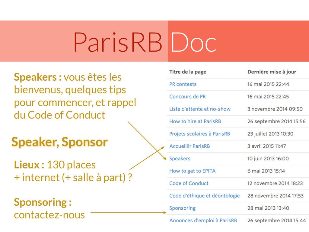Doc ParisRB Speakers : vous êtes les bienvenus,...
