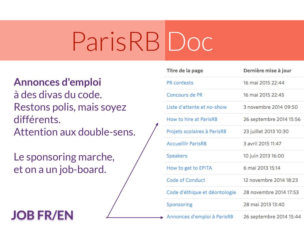 Doc ParisRB Annonces d'emploi à des divas du co...