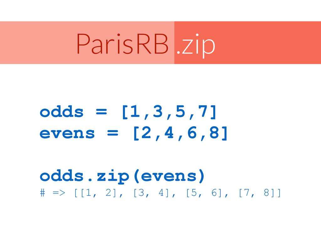 .zip ParisRB odds = [1,3,5,7] evens = [2,4,6,8]...