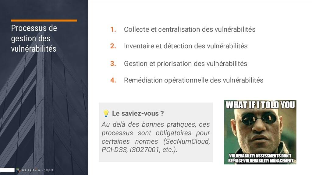 Processus de gestion des vulnérabilités 1. Coll...