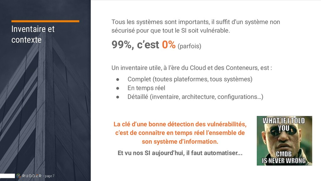 Inventaire et contexte Tous les systèmes sont i...