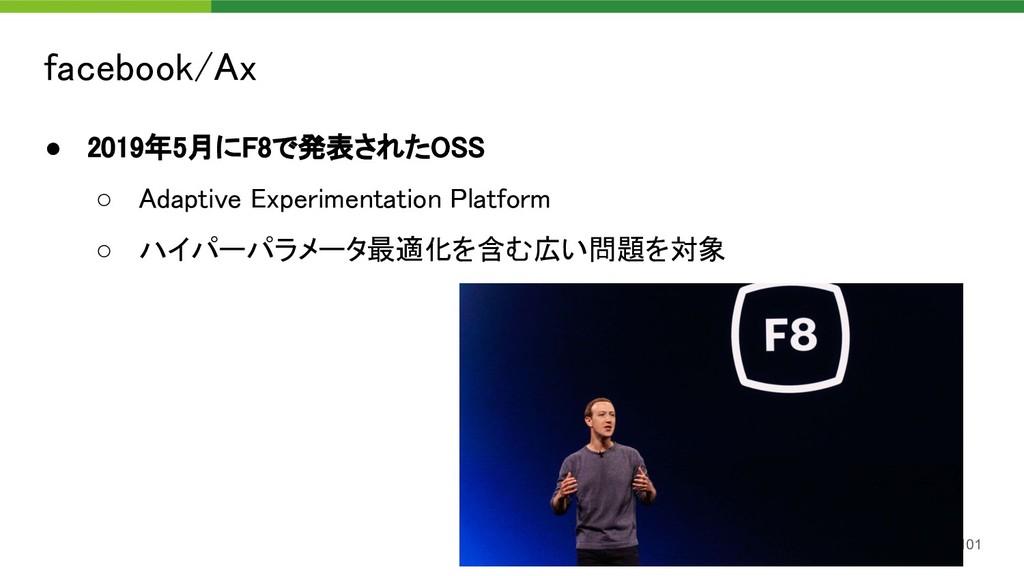 facebook/Ax 101 ● 2019年5月にF8で発表されたOSS ○ Adapt...