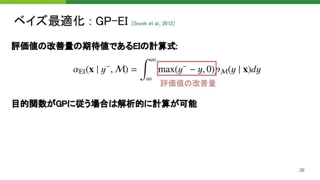 ベイズ最適化 : GP-EI [Snoek et al., 2012]  評価値の改善量の期...
