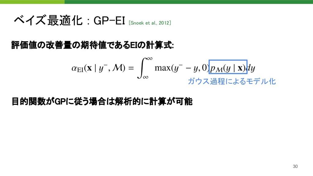 評価値の改善量の期待値であるEIの計算式:    目的関数がGPに従う場合は解析的に計...