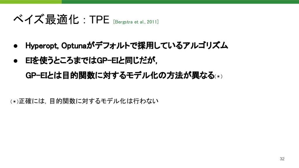 ベイズ最適化 : TPE [Bergstra et al., 2011]  32 ● Hyp...