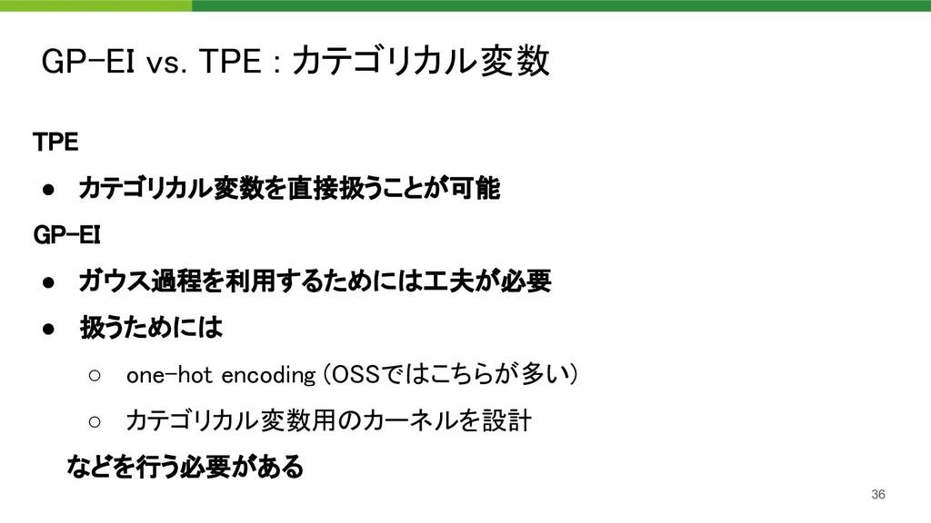 GP-EI vs. TPE : カテゴリカル変数 36 TPE ● カテゴリカル変数を直接...