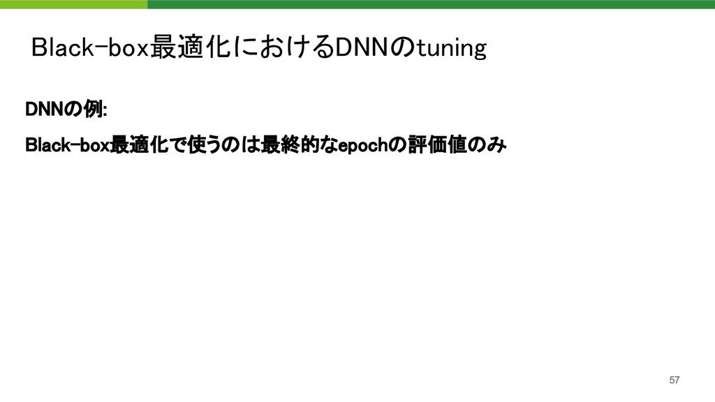 Black-box最適化におけるDNNのtuning 57 DNNの例: Black-bo...