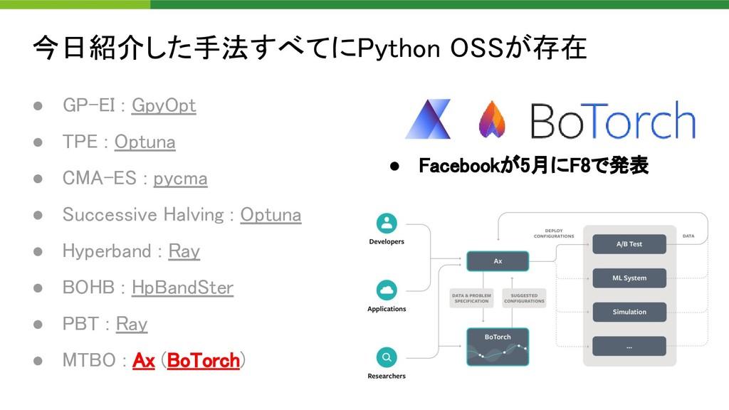 今日紹介した手法すべてにPython OSSが存在 90 ● GP-EI : GpyOpt...