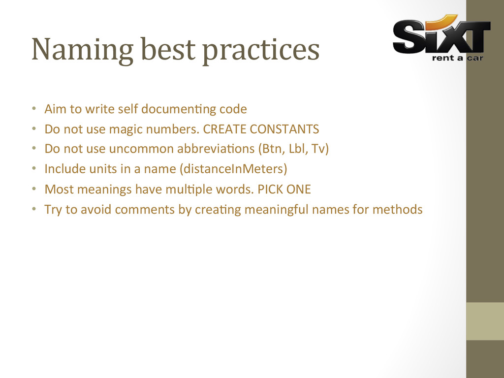 Naming best practices      ...