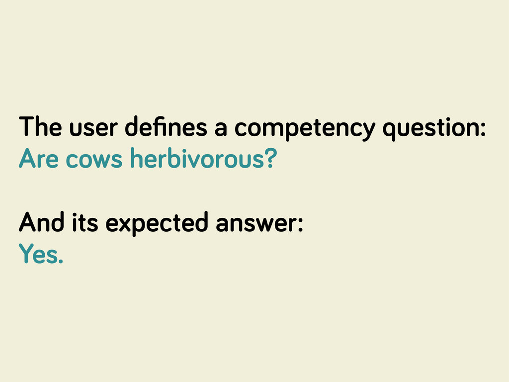 The user defines a competency question: Are cows...